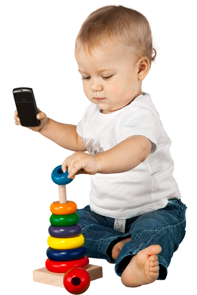 baby playing with a shape stacker
