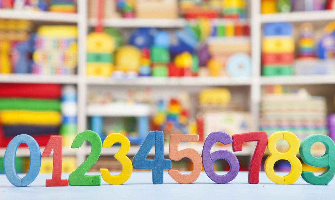 Colorful numbers in a preschool classroom