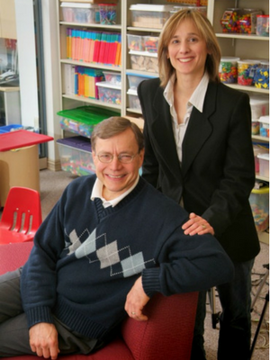Douglas H. Clements and Julie Sarama with early math manipulatives