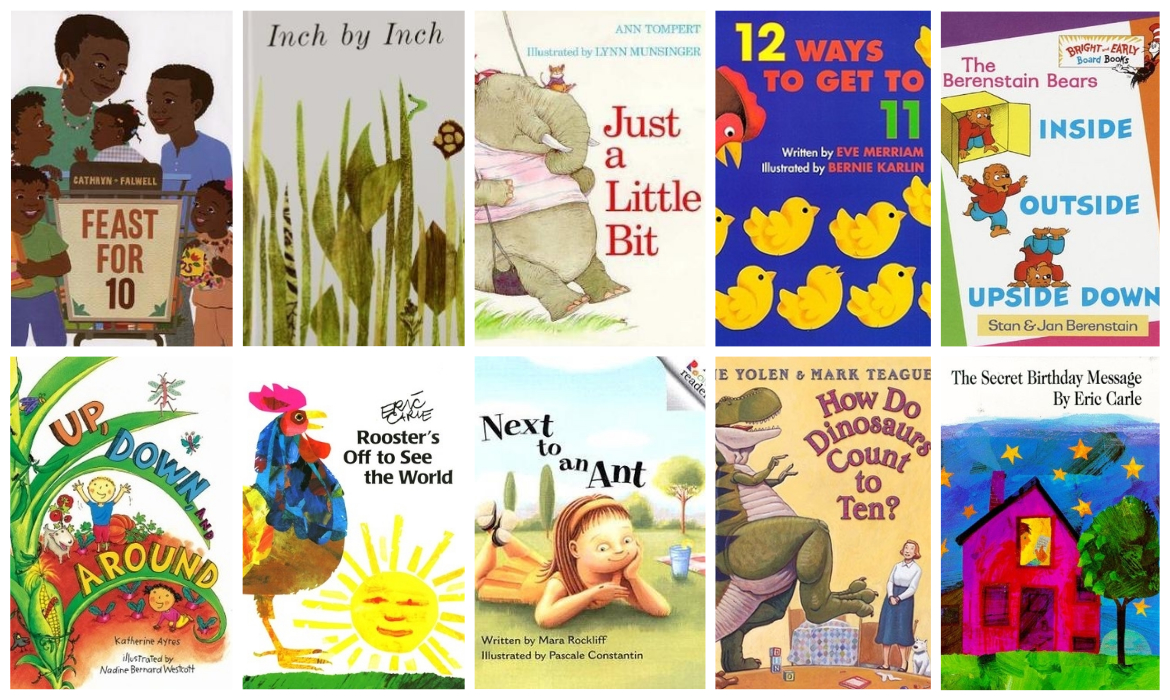Summer Reading List Math Picture Book Collage