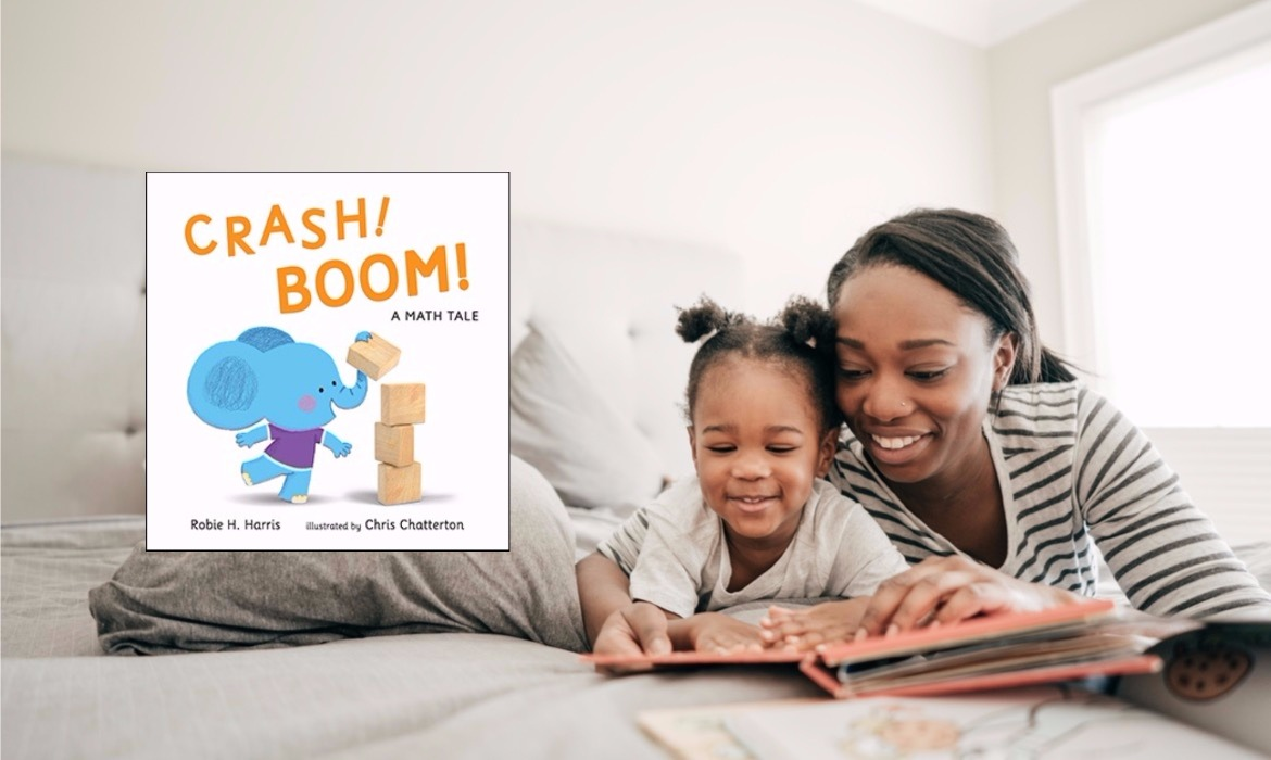 """""""Crash! Boom! A Math Tale"""" Book Cover Next to Parent and Child Reading"""
