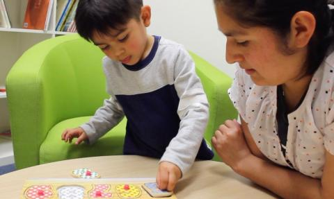 Mother and child practice shape skills with a puzzle