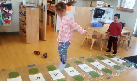 Preschool math game--Jumping on the Lily Pads
