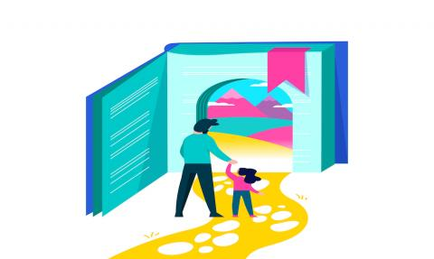 Girl entering book door with dad for kids education concept, children imagination world illustration on isolated background.