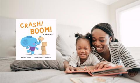 """Crash! Boom! A Math Tale"" Book Cover Next to Parent and Child Reading"